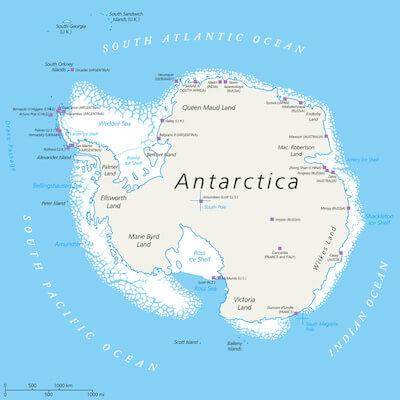 Karte der Antarktis mit dem Rossmeer (unten im Bild), Karte: Peter Hermes Furian, fotolia.