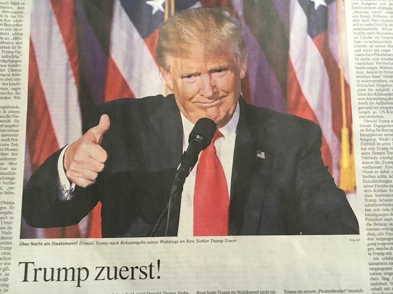 Leider vorn. Der Horrorclown heute auf der Frankfurter Allgemeinen Zeitung.L